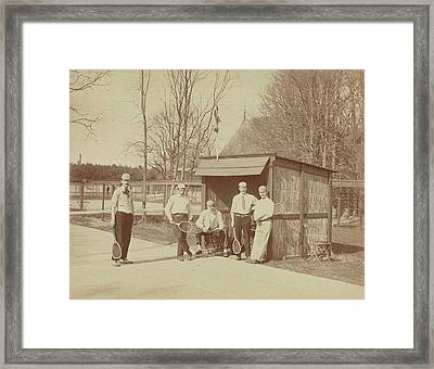 Group Portrait Of Five Men With Tennis Rackets On Tennis Framed Print by Artokoloro