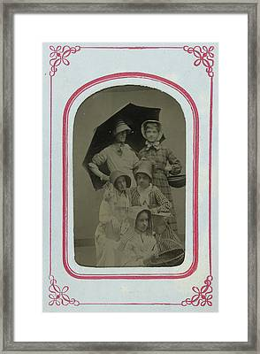 Group Portrait Of Five Women And Girls, Dressed As Fruit Framed Print by Artokoloro