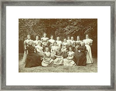Group Portrait Of Girls And Teachers, With Tennis Framed Print by Artokoloro