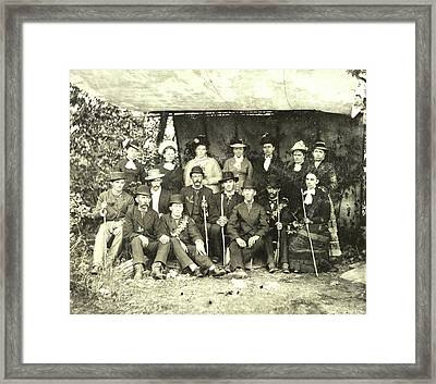 Group Portrait Of Hikers In A Makeshift Studio Framed Print