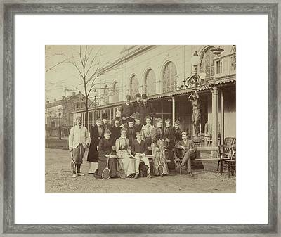 Group Portrait Of Men And Women With Tennis Rackets Framed Print