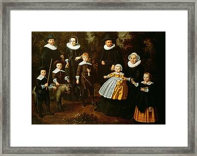 Group Portrait Of Three Generations Of A Family In The Grounds Of A Country House Oil On Canvas Framed Print by Dirck Santvoort