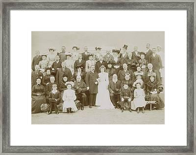 Group Portrait Of Wedding Couple Framed Print by Artokoloro