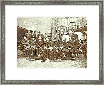 Group Portrait Of Young Men And Women Between Two Bike Sheds Framed Print by Artokoloro