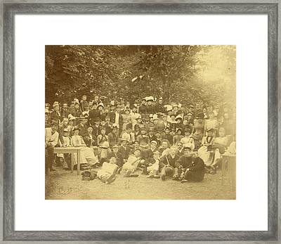 Group Portrait Of Young People In A Forest During A Group Framed Print by Artokoloro