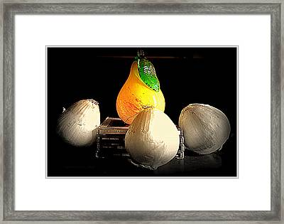 Groupies And Celebrity  Regal Pear And Lowly Onions Framed Print by Kathy Barney