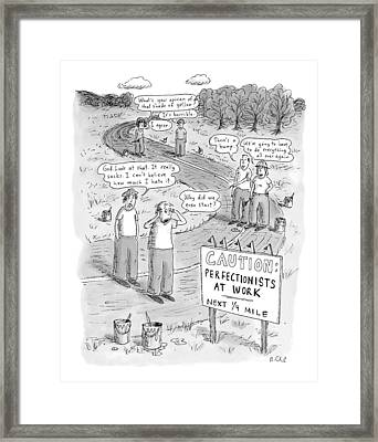 Groups Of Construction Workers Paralyzed Framed Print by Roz Chast