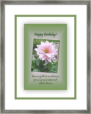 Growing Old Is Optional Framed Print