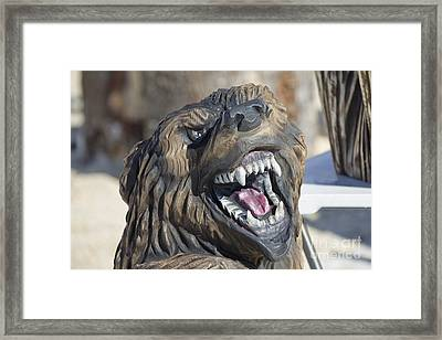 Growling Black Bear Wood Carving Framed Print