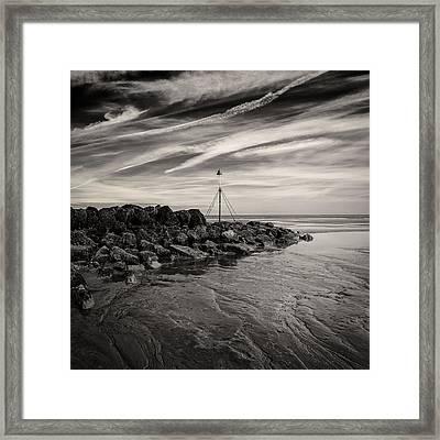 Groyne Marker Framed Print by Dave Bowman