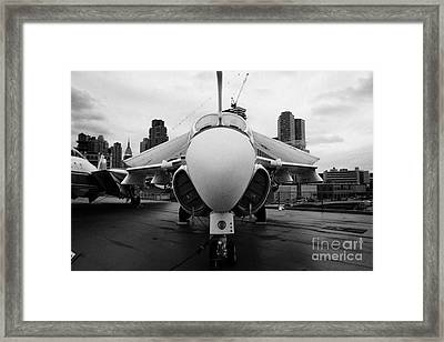 Grumman A6 A6f Intruder On Display On The Flight Deck At The Intrepid Sea Air Space Museum Framed Print by Joe Fox