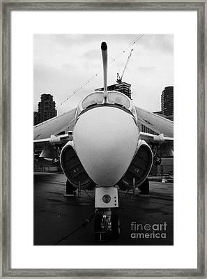 Grumman A6 A6f Intruder On Display On The Flight Deck At The Intrepid Sea Air Space Museum Usa Framed Print by Joe Fox