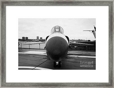 Grumman F11f Tiger On Display On The Flight Deck At The Intrepid Sea Air Space Museum F11 Framed Print by Joe Fox