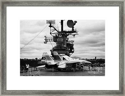 Grumman F14 In Front Of The Bridge On The Flight Deck Of The Uss Intrepid  Framed Print by Joe Fox