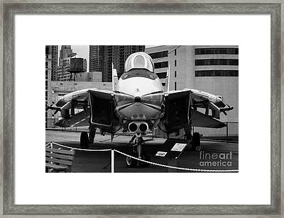 Grumman F14 On The Flight Deck Of The Uss Intrepid At The Intrepid Sea Air Space Museum Framed Print