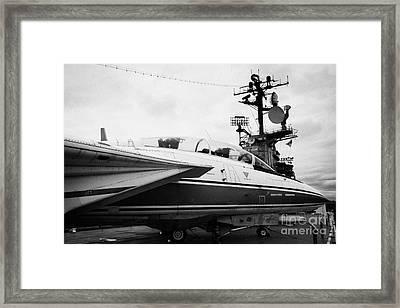 Grumman F14 Tomcat On The Flight Deck Of The Uss Intrepid At The Intrepid Sea Air Space Museum Framed Print by Joe Fox