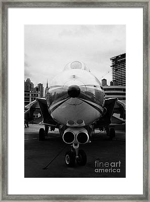 Grumman F14 Tomcat On The Flight Deck Of The Uss Intrepid At The Intrepid Sea Air Space Museum Usa Framed Print