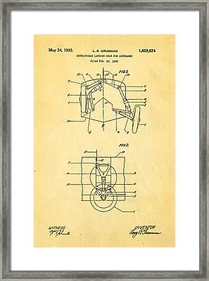 Grumman Retractable Landing Gear Patent Art 1932 Framed Print