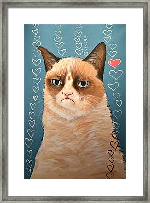 Grumpy Cat Art ... Love You Framed Print by Amy Giacomelli