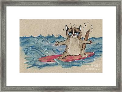 Grumpy Cat Surfing Framed Print by Angel  Tarantella
