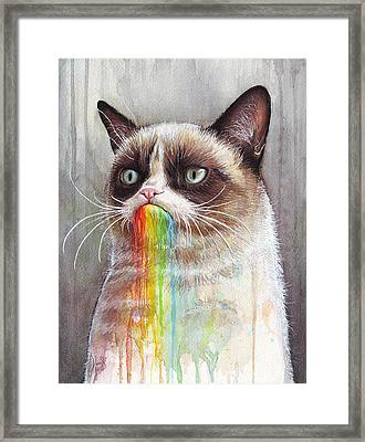 Grumpy Cat Tastes The Rainbow Framed Print by Olga Shvartsur