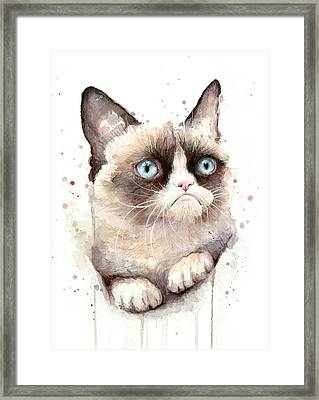 Grumpy Cat Watercolor Framed Print by Olga Shvartsur