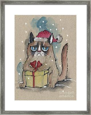 Grumpy  Christmas Cat Framed Print by Angel  Tarantella