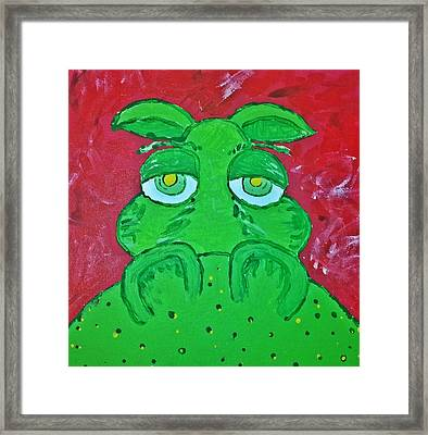 Grumpy Green Hippo Framed Print by Yshua The Painter