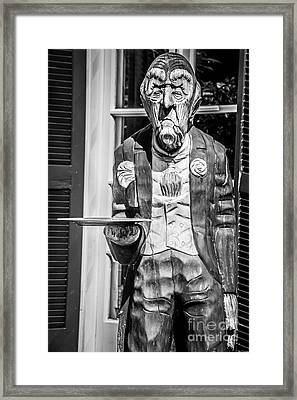 Grumpy Old Waiter Carving Key West - Black And White Framed Print by Ian Monk