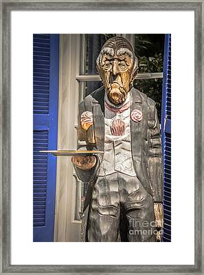 Grumpy Old Waiter Carving Key West - Hdr Style Framed Print