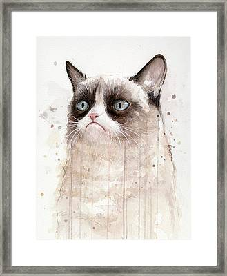 Grumpy Watercolor Cat Framed Print by Olga Shvartsur