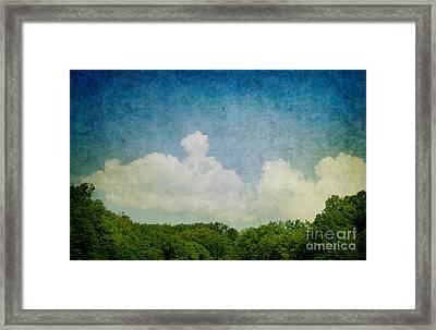 Grunge Background With Landscape Framed Print by Mythja  Photography