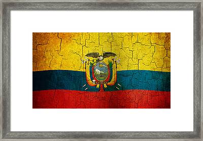 Grunge Ecuador Flag Framed Print