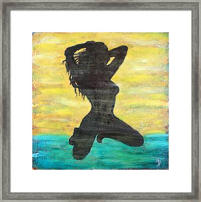 Grunge Girl Female Silhouette Pop Art Framed Print