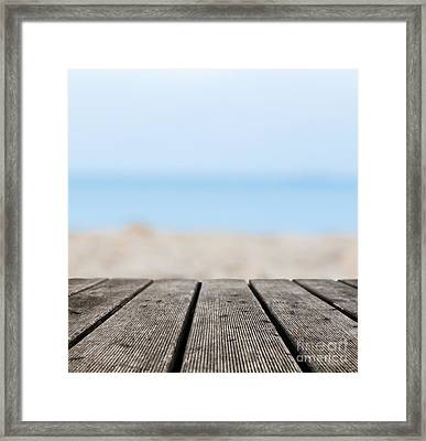 Grunge Rustic Real Wood Boards On The Beach Shore Framed Print