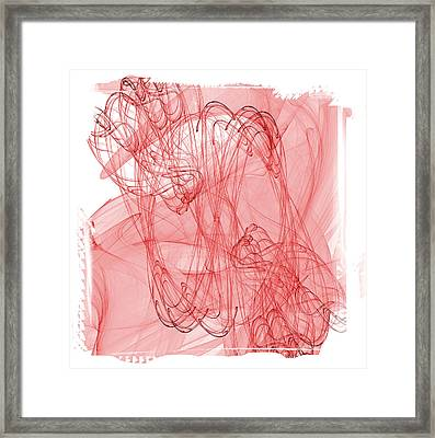 Aries - Red Abstract Zodiac Sign  Framed Print