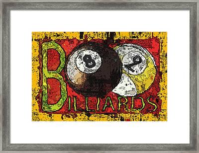 Grunge Style Billiards Sign Framed Print by David G Paul