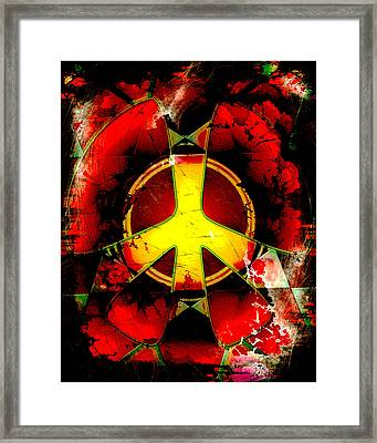 Grunge Style Peace Sign Framed Print