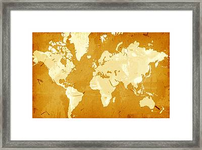 Grunge Style World Map Framed Print by Modern Art Prints