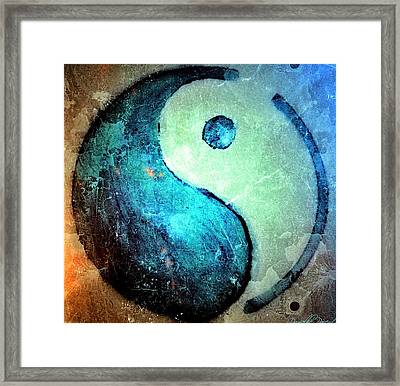 Grunge Yin Yang Water Is Precious Framed Print by Danielle  Parent