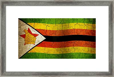 Grunge Zimbabwe Flag Framed Print
