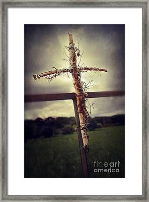 Grungy Cross Framed Print