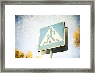 Grungy Crossing Sign Framed Print