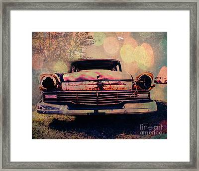 Grungy Ford In The Sun Framed Print by Sonja Quintero
