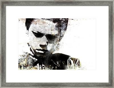 Grungy Portrait Of A Child Framed Print