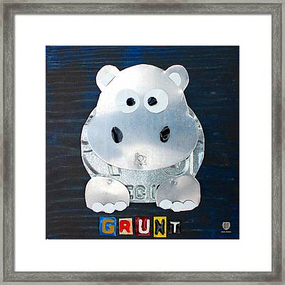 Grunt The Hippo License Plate Art Framed Print by Design Turnpike