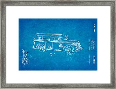 Grybos Fire Truck Patent Art 1939 Blueprint Framed Print by Ian Monk