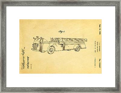 Grybos Fire Truck Patent Art 1940 Framed Print