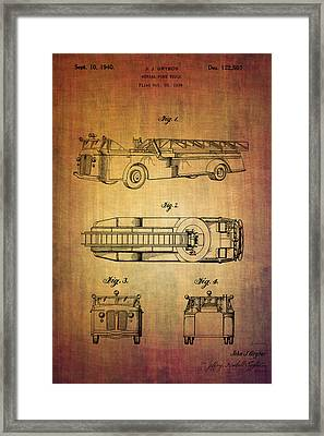 Grybos Fire Truck Patent From 1940 Framed Print by Eti Reid
