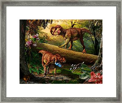 Gryphoceratops And Unescoceratops Framed Print